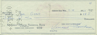 VINCE LOMBARDI - AUTOGRAPHED SIGNED CHECK 07/28/1960 CO-SIGNED BY: JOE GOMES