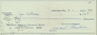 VINCE LOMBARDI - AUTOGRAPHED SIGNED CHECK 08/01/1960 CO-SIGNED BY: JON GILLIAM