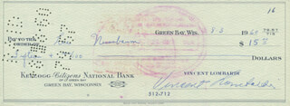 VINCE LOMBARDI - AUTOGRAPHED SIGNED CHECK 08/03/1960 CO-SIGNED BY: LEE NUSSBAUM