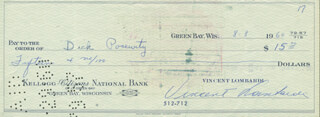 VINCE LOMBARDI - AUTOGRAPHED SIGNED CHECK 08/08/1960 CO-SIGNED BY: DICK POSEVITY