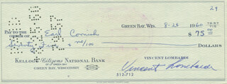 VINCE LOMBARDI - AUTOGRAPHED SIGNED CHECK 08/24/1960 CO-SIGNED BY: EARL CORNISH