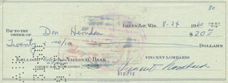 VINCE LOMBARDI - AUTOGRAPHED SIGNED CHECK 08/24/1960 CO-SIGNED BY: DON HERNDON