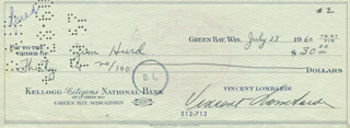 VINCE LOMBARDI - AUTOGRAPHED SIGNED CHECK 07/23/1960 CO-SIGNED BY: JIM HURD