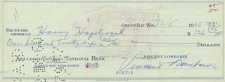 VINCE LOMBARDI - AUTOGRAPHED SIGNED CHECK 12/05/1960 CO-SIGNED BY: HARRY HAZELWOOD