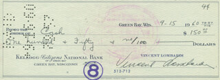 VINCE LOMBARDI - AUTOGRAPHED SIGNED CHECK 09/15/1960 CO-SIGNED BY: FERN PANSIER
