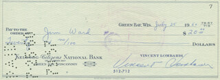 VINCE LOMBARDI - AUTOGRAPHED SIGNED CHECK 07/25/1960 CO-SIGNED BY: JIM WARD