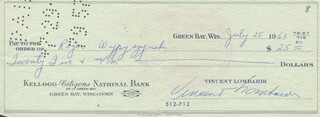 VINCE LOMBARDI - AUTOGRAPHED SIGNED CHECK 07/25/1960 CO-SIGNED BY: ROGER WYPYSZYNSKI