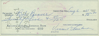 VINCE LOMBARDI - AUTOGRAPHED SIGNED CHECK 08/06/1961 CO-SIGNED BY: BOB BEAVER