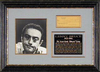 Autographs: LENNY BRUCE - CHECK SIGNED 12/06/1962