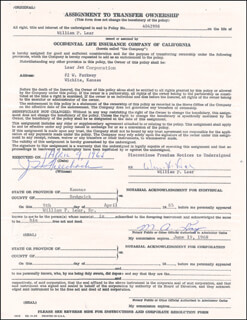 WILLIAM P. LEAR - DOCUMENT SIGNED 04/09/1965