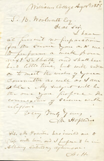 MARK HOPKINS - AUTOGRAPH LETTER SIGNED 08/14/1856