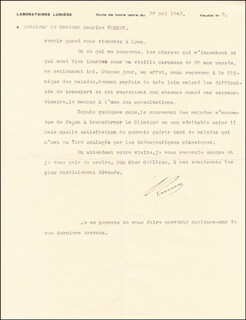 AUGUSTE M. LUMIERE - TYPED LETTER SIGNED 05/26/1943