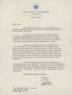 PRESIDENT RICHARD M. NIXON - TYPED LETTER SIGNED 07/13/1959