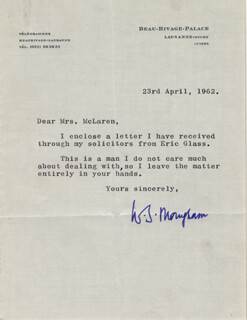 W. SOMERSET MAUGHAM - TYPED LETTER SIGNED 04/23/1962