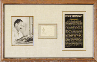 Autographs: ERNEST PAPA HEMINGWAY - PRINTED CARD SIGNED IN INK 08/10/1933