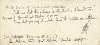 Autographs: GEORGE BERNARD SHAW - AUTOGRAPH NOTE SIGNED 04/26/1923