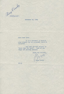 BING CROSBY - TYPED LETTER SIGNED 12/30/1944