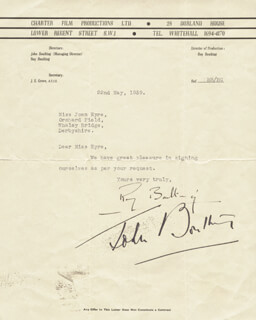 ROY BOULTING - TYPED LETTER SIGNED 05/22/1939 CO-SIGNED BY: JOHN BOULTING