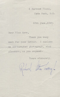 Autographs: SIR RICHARD ATTENBOROUGH - TYPED LETTER SIGNED 06/18/1943