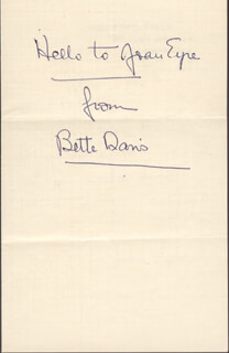 BETTE DAVIS - INSCRIBED SIGNATURE