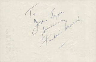 FREDRIC MARCH - AUTOGRAPH NOTE SIGNED