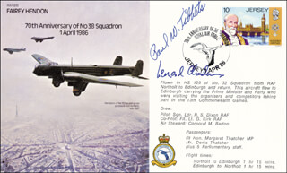 ENOLA GAY CREW (PAUL W. TIBBETS) - COMMEMORATIVE ENVELOPE SIGNED CO-SIGNED BY: CAPTAIN G. LEONARD CHESHIRE