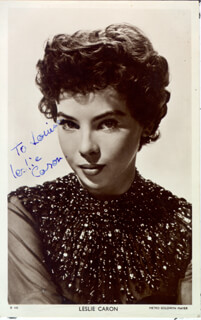 LESLIE CARON - INSCRIBED PICTURE POSTCARD SIGNED