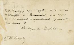 Autographs: RUDYARD KIPLING - AUTOGRAPH POST CARD SIGNED 09/29/1897