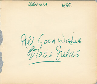 GRACIE FIELDS - AUTOGRAPH SENTIMENT SIGNED 12/1955