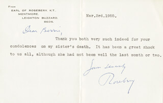 HARRY MEYER EARL OF ROSEBERY VI PRIMROSE - TYPED LETTER SIGNED 03/03/1955
