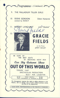 GRACIE FIELDS - PROGRAM SIGNED