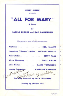 KATHLEEN HARRISON - PROGRAM SIGNED 09/09/1956