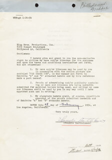 Autographs: FREDDIE BARTHOLOMEW - CONTRACT SIGNED 02/28/1956