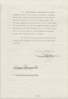 Autographs: JOAN BENNETT - CONTRACT SIGNED 05/09/1945