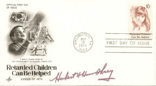 VICE PRESIDENT HUBERT H. HUMPHREY - FIRST DAY COVER SIGNED