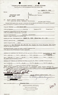 Autographs: SEBASTIAN CABOT - CONTRACT SIGNED 03/27/1969 CO-SIGNED BY: KAY CABOT
