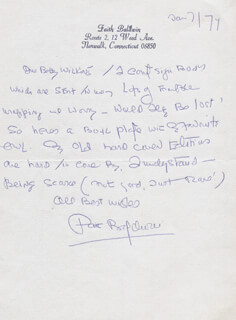 Autographs: FAITH BALDWIN - AUTOGRAPH LETTER SIGNED 01/07/1974