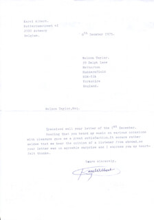 Autographs: KAREL ALBERT - TYPED LETTER SIGNED 12/08/1975