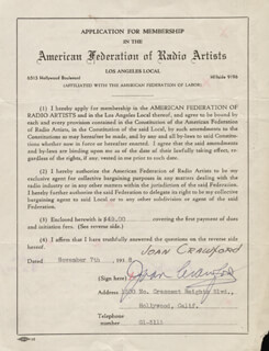 JOAN CRAWFORD - APPLICATION SIGNED 11/07/1938
