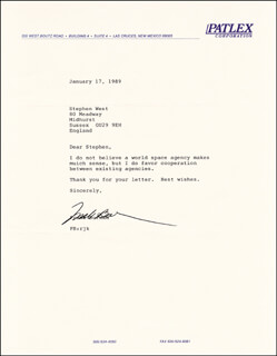 Autographs: COLONEL FRANK BORMAN - TYPED LETTER SIGNED 01/17/1989