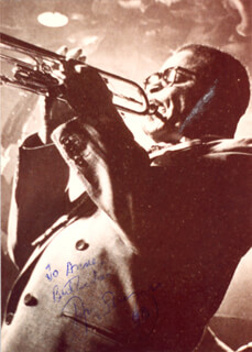 DIZZY GILLESPIE - AUTOGRAPHED INSCRIBED PHOTOGRAPH 1990
