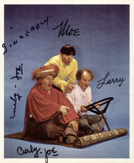 THREE STOOGES (JOE CURLY-JOE DE RITA) - AUTOGRAPHED SIGNED PHOTOGRAPH