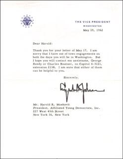 PRESIDENT LYNDON B. JOHNSON - TYPED LETTER SIGNED 05/19/1962