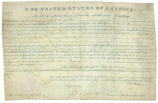 PRESIDENT JOHN QUINCY ADAMS - LAND GRANT SIGNED 08/10/1825 CO-SIGNED BY: GEORGE GRAHAM