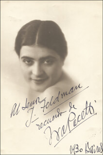 Autographs: IVA PACETTI - INSCRIBED PHOTOGRAPH SIGNED 1930