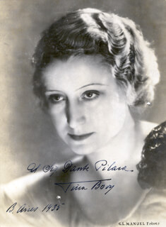 VINA BOVY - AUTOGRAPHED INSCRIBED PHOTOGRAPH 1935