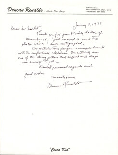 DUNCAN THE CISCO KID RENALDO - AUTOGRAPH LETTER SIGNED 01/09/1979