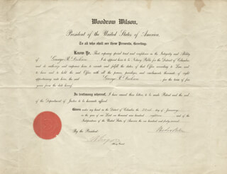 PRESIDENT WOODROW WILSON - CIVIL APPOINTMENT SIGNED 01/22/1918 CO-SIGNED BY: THOMAS W. GREGORY