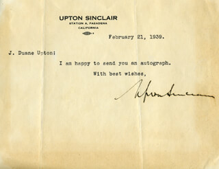 UPTON SINCLAIR - TYPED LETTER SIGNED 02/21/1939