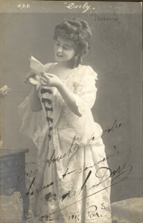 ZORAH DORLY - PICTURE POST CARD SIGNED 04/21/1904